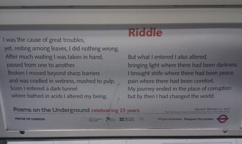 Riddle underground poem