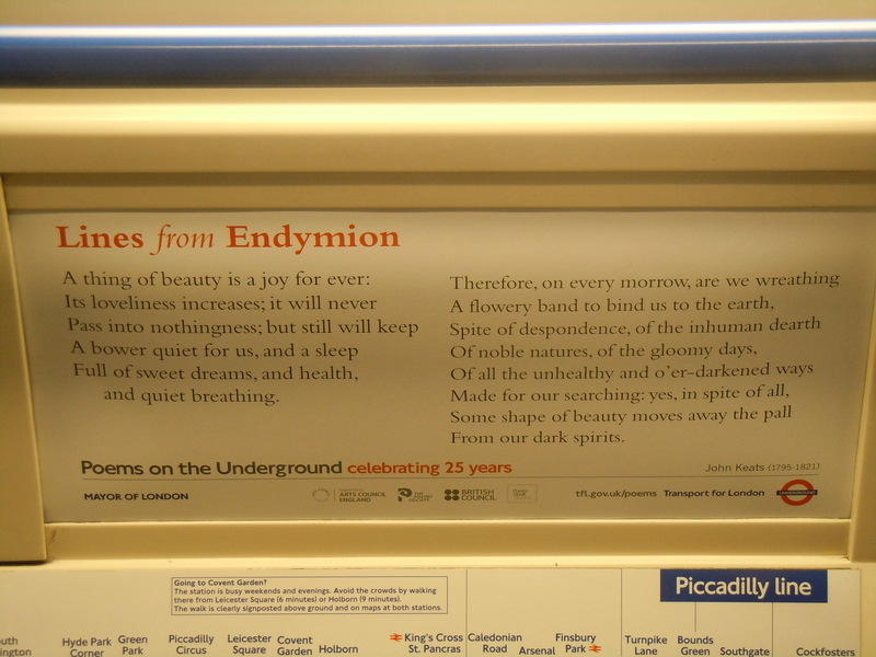 lines from Endymion London underground poem