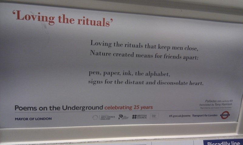 Loving the rituals poem on london underground