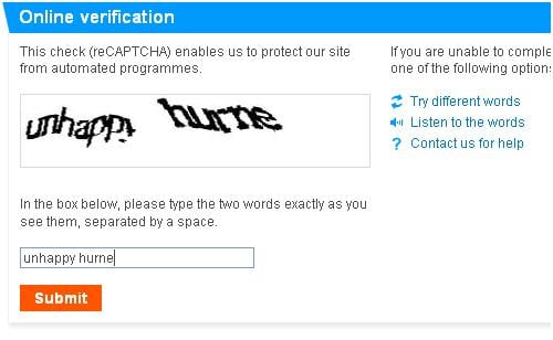 London olympics type verification code captcha code