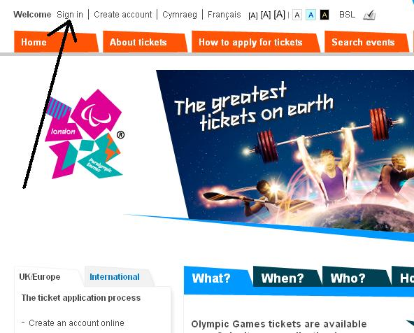 London olympics website sign in