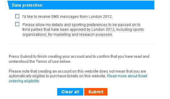 London olympics registration form data protection information