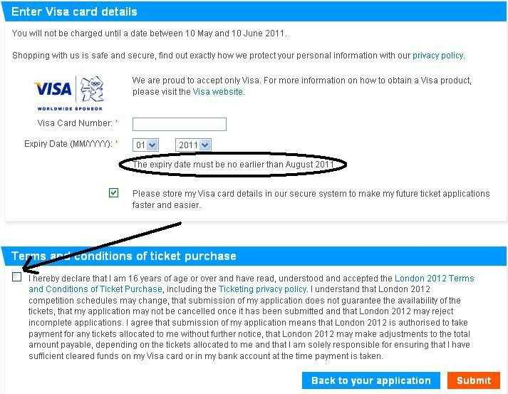 London olympics tickets payment visa card details