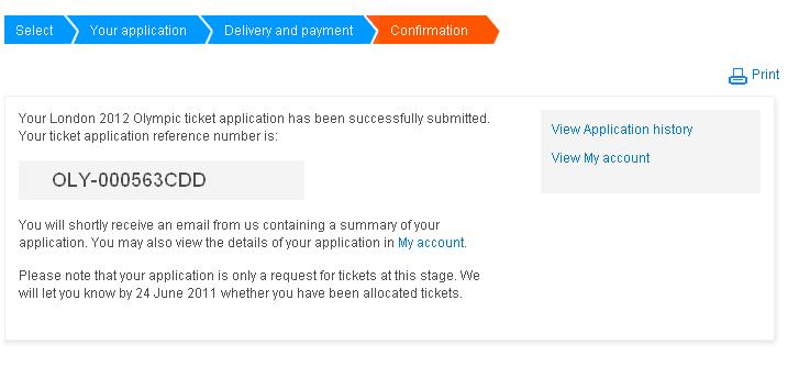 London olympics tickets payment done and confirmation