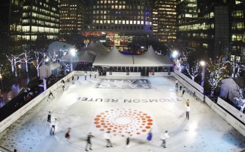 canary wharf ice skating pic