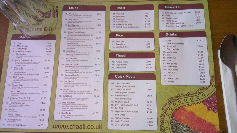 thaali ilford high road Menu