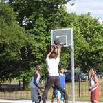 Clapham Common in London basketball players