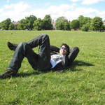 Clapham Common in London guy lying (2)