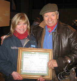 Monty Roberts presenting me with my MRPCH certificate