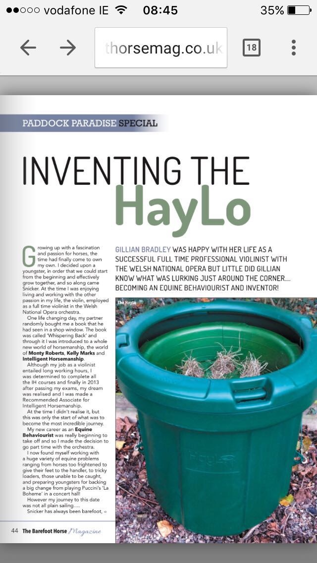 An article about one of my other projects, developing the HayLo slow down hay feeder.