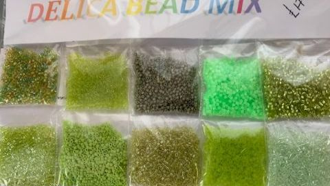 Mixed Lime Green Delica Bead Pack