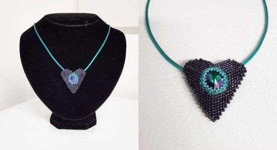 Blue/Denim Crystal Heart Necklace