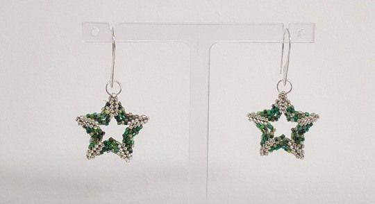 Green & Silver Star Earrings