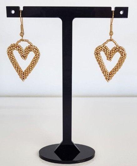 Gold Metallic Heart Earrings