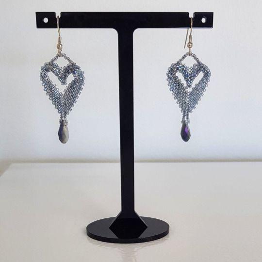 Grey Sparkle Crystal Drop Earrings