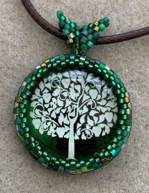 Green & White Tree of Life Pendant