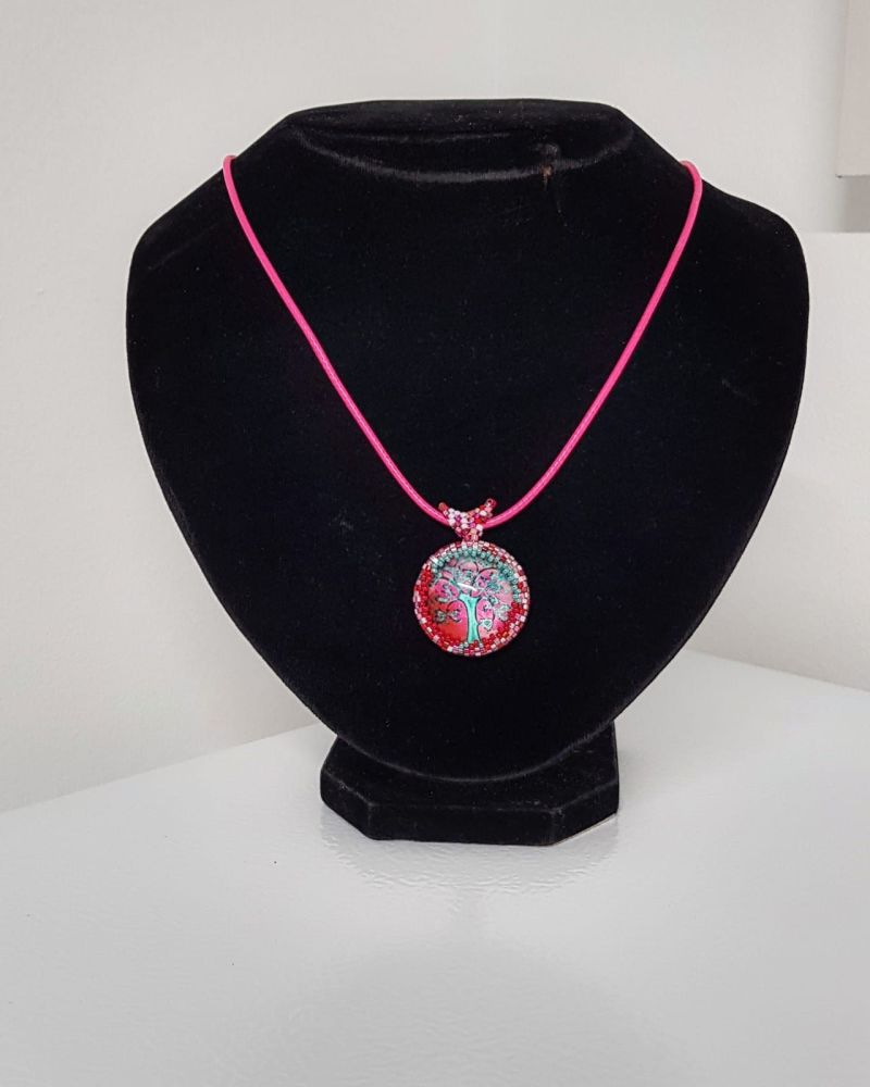 Pink/Turquoise Tree of Life Pendant