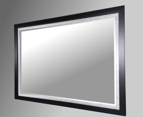 Black and Silver Framed Mirror.  102x72cm