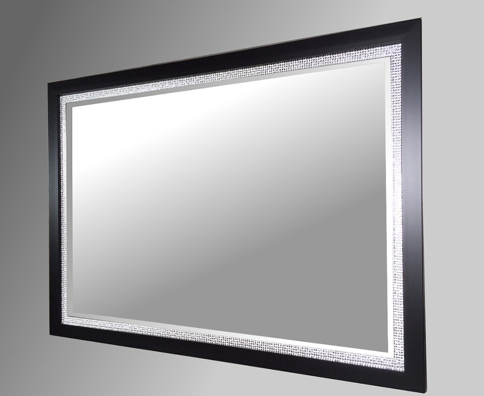 Silver Mirror Wall Photo Frame: Black And Silver Mosaic Framed Mirror. 102x72cm