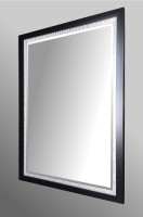 Black and Silver Mosaic Framed Mirror.  87x62cm