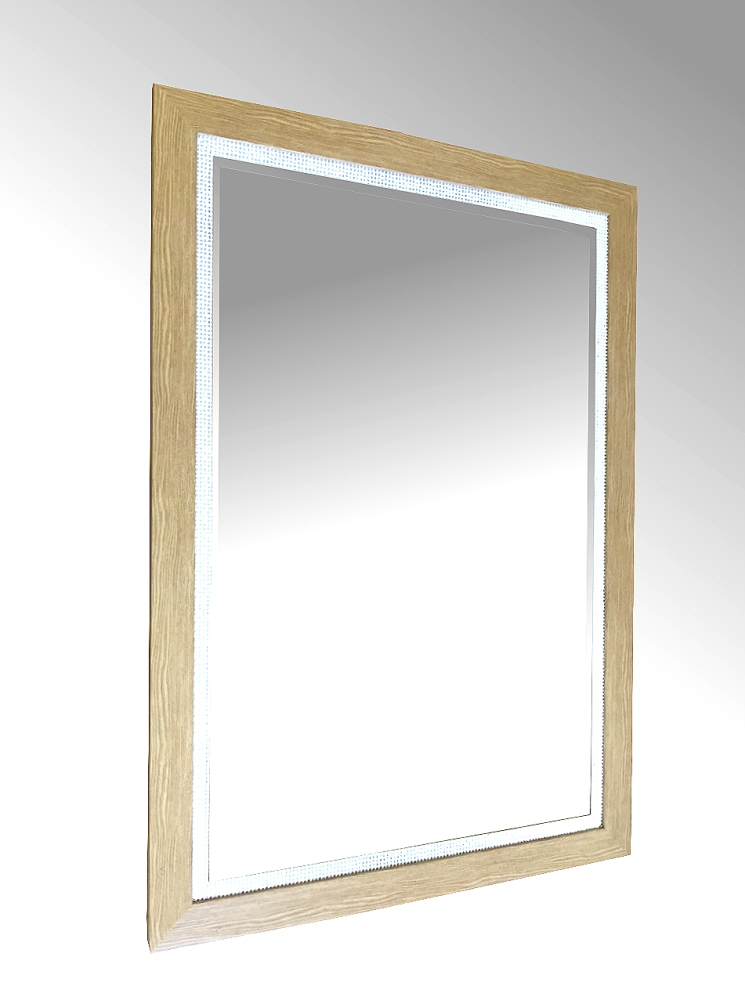 Light Oak Effect and Silver Framed Mirror.   88x63cm