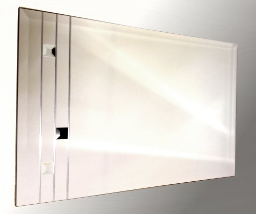 Leaded Clear and Black Squares 48X24 Bevelled Frameless Mirror