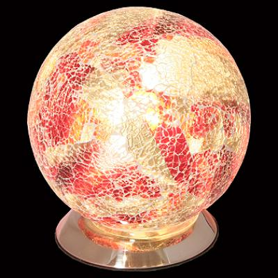 Mosaic Orange and Red Glass Sphere Table Lamp