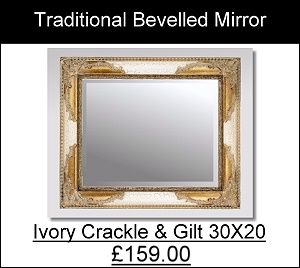 Ivory Crackle and Gilt Mirror