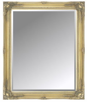 Gold Swept Slim Frame Bevelled Mirror 36X24