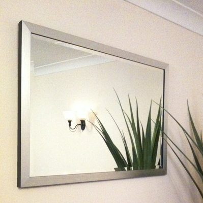 Flat Silver Framed 30X20 Bevelled Mirror
