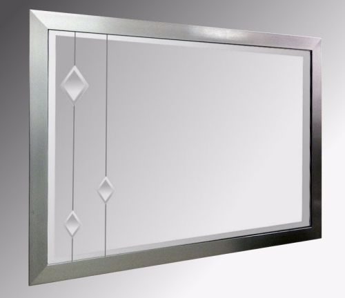 Leaded Clear Diamonds 48X24 Pewter Brushed Frame
