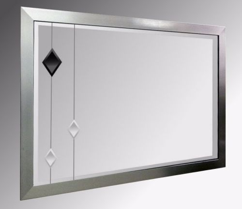Leaded Black Diamonds 48X24 Pewter Brushed Frame