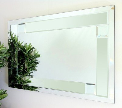 Utah Clear Glass Bevelled Mirror 92X61cm