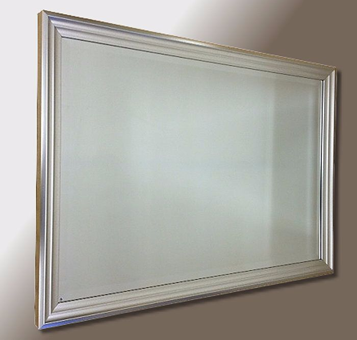 Satin Silver Ribbed 36X24 Bevelled Mirror