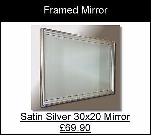 Satin Silver Ribbed Framed Mirror