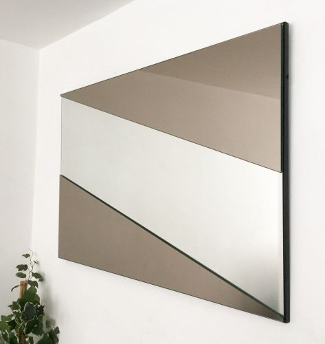 Stripe Bronze & Clear Mirror. 92x61cm
