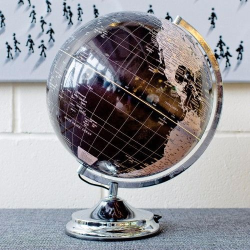 Illuminated Globe, Touch Lamp. Black and Silver.