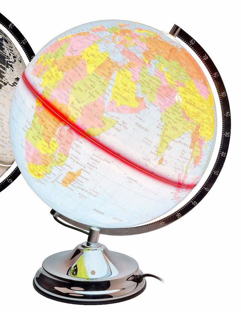 Illuminated World Globe, Touch Lamp. Multi Colour.