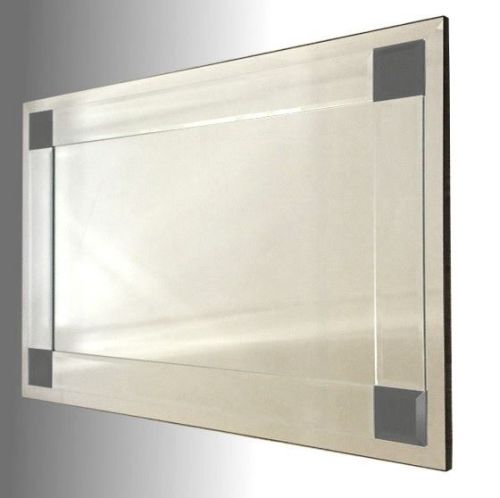 Boston Clear and Black Glass Bevelled Mirror 92X61cm