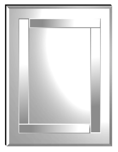 Athena clear mirror has four strips of bevelled mirror that make up the wrap around central design.  Overall size.92X61cm.