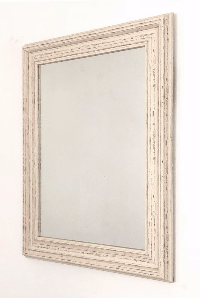 Distressed Cream Mid Size Mirror.  Overall Size. 53x64cm