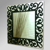 Filigree Black Square Mirror