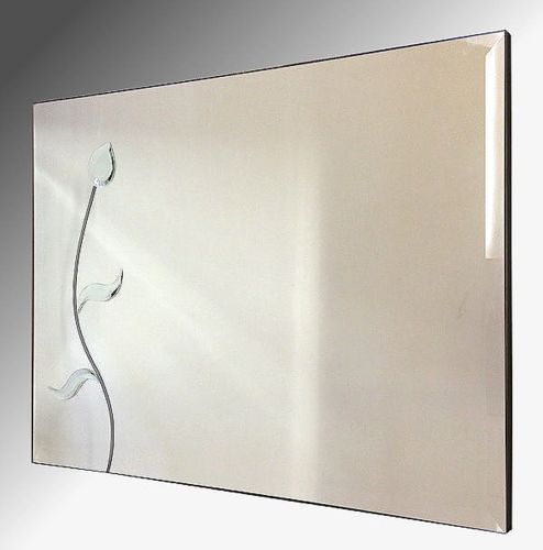 Flower Wall Mirror 92x61cm Bevelled Frameless Mirror
