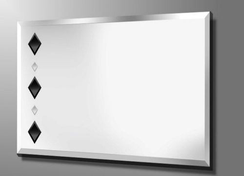 Krystal 36X24 Black Diamonds Bevelled Frameless Mirror