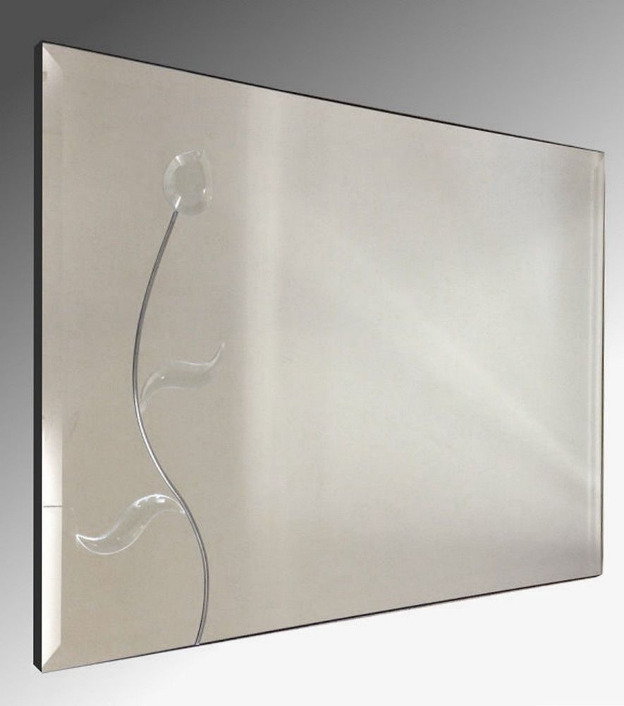 Leaded Flower 30X20 Bevelled Frameless Mirror