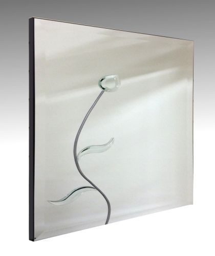 Leaded Flower Square Bevelled Mirror. 61X61cm