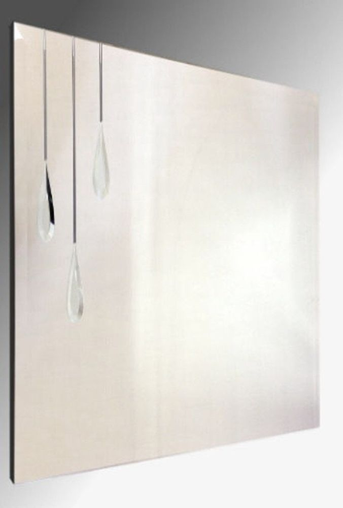 Leaded Triple Droplet Square Bevelled Mirror. 61X61cm