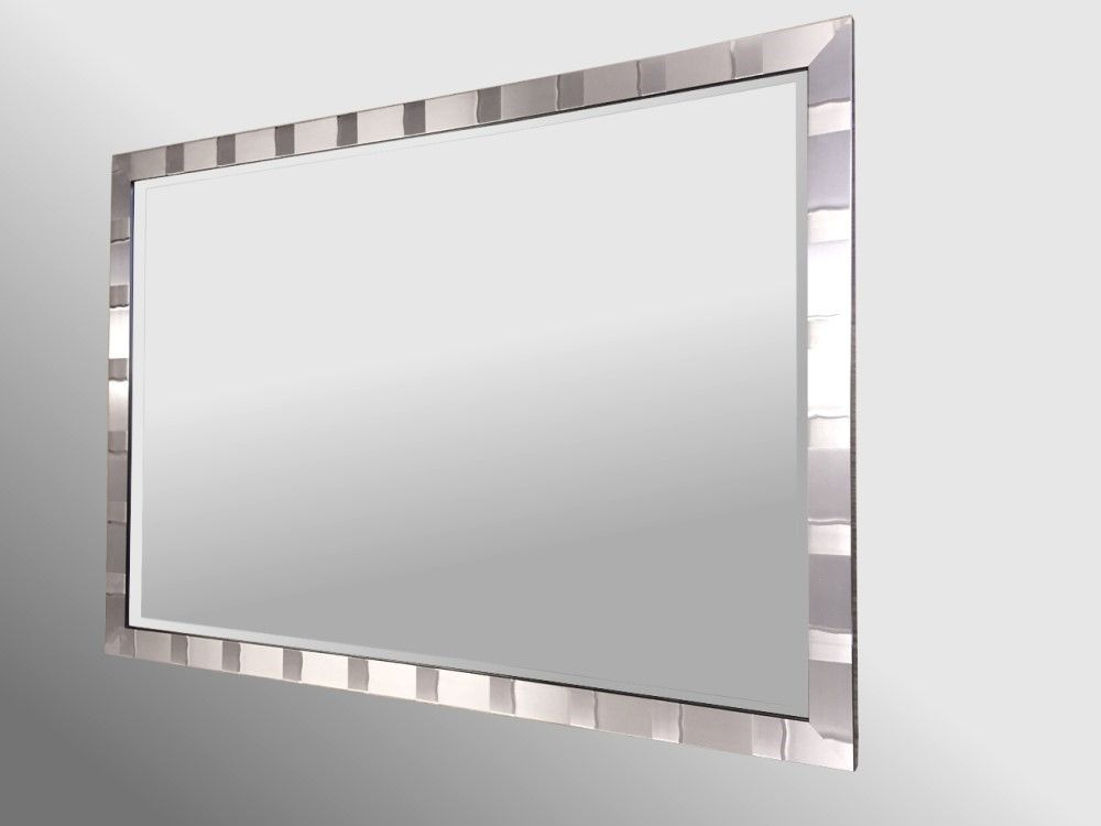 Tivoli Brushed Pewter Framed 48X24 Bevelled Mirror