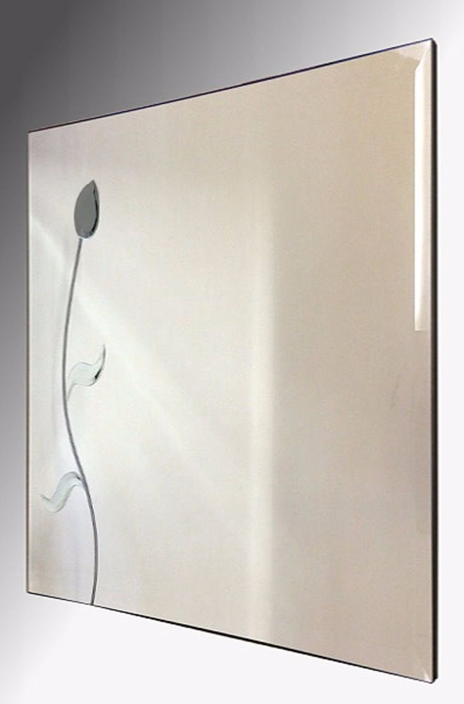 Leaded Grey Flower Square Bevelled Mirror. 61X61cm