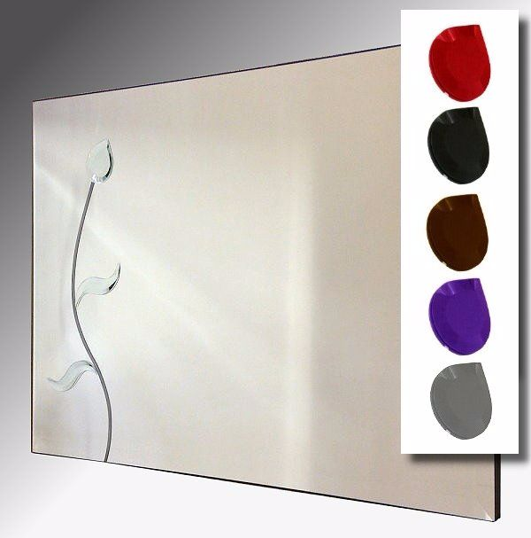 Leaded Flower 92X61cm Bevelled Frameless Mirror With Colour Option
